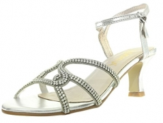 Amiana Women's Elastic Sandal with Ankle Strap, Natural, 36 EU / 5 US.