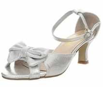 Amiana Women's Satin Bow Kitten Heel, Silver Satin, 35 EU / 4 US.