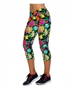 Ancia Womens Yoga Active Fitness Capri Leggings Gym Tights,Medium,Vintage Flowers