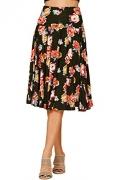 Tanming Women's Elastic Waist Belted Wool Blend Check Plaid Midi Skirt (Medium, Blue)
