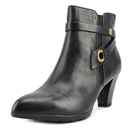 Anne Klein Women's Chelsey Leather Western Boot, Black, 7.5 M US.