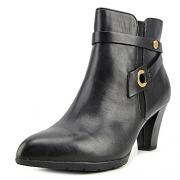 Anne Klein Women's Chelsey Leather Western Boot, Black, 7.5 M US.