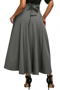 Annflat Women's Plain High Waist Flare Pleated A-line Cotton Maxi Skirt Small Grey