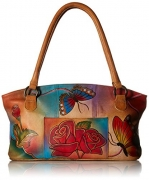 Anuschka Anna Handpainted Leather Wide Tote, Rose Butterfly.