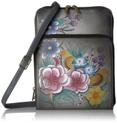 Anuschka Anna Handpainted Leather Zippered Organiser-Vintage Garden Grey.