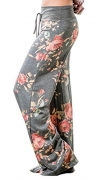 Artfish Women Loose Baggy Yoga Long Pants Floral Printed Trousers (M, Grey)