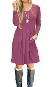 ZESICA Women's Long Sleeve Floral Pockets Casual Swing Pleated T-shirt Dress Olive Medium.