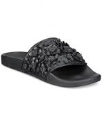 Avec Les Filles Margaux Embroidered Block-Heel Mules, Black/ Floral, Size 10.0.
