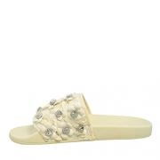 Avec Les Filles Womens Stella Open Toe Slide Flats, White Floral, Size 8.0.
