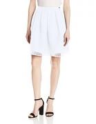 A X Armani Exchange Women's Mesh Overlay Flare Skirt, Black, 8 – Womens Skirt Best Price