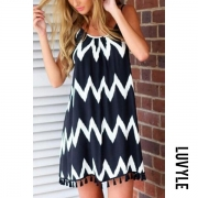 Backless Zigzag Striped Shift Casual Dresses