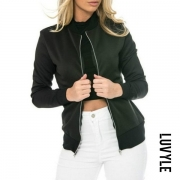 Band Collar Zipper Color Block Jackets