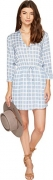 BB Dakota Women's Daniella Plaid Printed Shirt Dress, Faded Denim, Small.