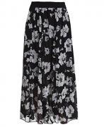 TRENDY UNITED Women's Rayon Spandex High waist Shirring Maxi Skirt with Pockets (BLK, Large)