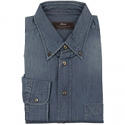 Brioni Button-Down Collar Shirt Jeans Blue