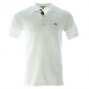 Burberry Brit Men's Check Placket Polo Shirt Medium White