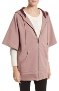 BURBERRY Women's Check Trim Cotton Short Sleeve Hoodie in Dusty Mauve