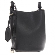 Burberry Women's Leather and Haymarket Check Crossbody Bucket Bag Black