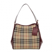 Burberry Women's Small Canter in Horseferry Check and Leather Beige Wine