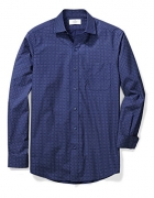 Buttoned Down Men's Classic Fit Spread-Collar Pattern, Navy/Blue Geo, XL 34/35