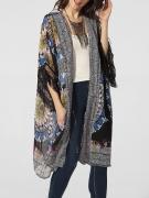 Collarless Fringe Printed Kimono Sleeve Kimono