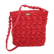 Cappelli Women's Crocheted Crossbody Handbag with Beaded Strap, Red.