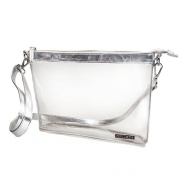 CAPRI DESIGNS CLEARLY FASHION CLEAR LARGE CROSSBODY (MEETS STADIUM REQUIREMENTS) (Silver Trim).