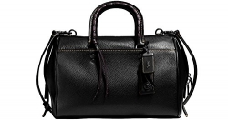 COACH Glovetanned Pebbled Leather Rogue Satchel with Embellished Handle in Antique Nickel / Black 58118