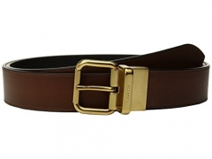 COACH  Men's Jeans Reversible Belt Dark Saddle/Black Belt