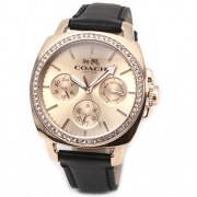 COACH Women's Boyfriend 40MM Leather Strap Watch Rose Gold/Black Watch
