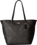 COACH Women's Crossgrain Large Street Tote Im/Black/Black One Size