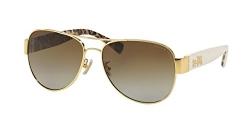 Coach Womens L138 Sunglasses (HC7059) Gold/Brown Metal – Polarized – 58mm