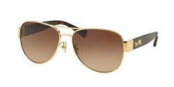Coach Womens L138 Sunglasses (HC7059) Tortoise/Brown Metal – Non-Polarized – 58mm