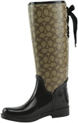 Coach Womens Tristee Outline Rain Boot Khaki/Chestnut Size 6