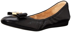 Cole Haan Women's TALI BOW BALLET Shoe, Black Leather, 7 B US.