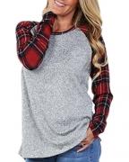 Coutgo Women's Plaid Knit Baseball Tees Loose Tunic (XL, Red)