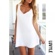 Cross Back Chiffon Mini Dress with Lined