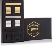 Cufflinks and Tie Clip Set – 3 Couples – Gift Box (Gold Silver Black)