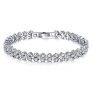 Cyntan Elegant Silver Rhinestone Stretch Bracelet For Women Girls Wedding Bridal Bracelet 17Cm
