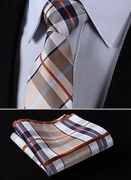 Dan Smatree Brown Blue Stripe 3.4″Silk Woven Men Tie Necktie Handkerchief Set