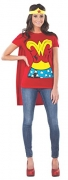DC Comics Wonder Woman T-Shirt With Cape And Headband, Red, Large Costume.