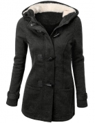 Doublju Womens Classic Hooded Toggle Coat With Pockets CHARCOAL 2XL.
