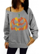 Dudebabe Women Halloween Off Shoulder Sweatshirts Crewneck Long Sleeve Pullovers (XL, b Grey).