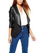 blackmogoo Winter Faux Leather Moto Jackets For Women Windbreaker And Waterproof Hooded Bike Jacket Coats.