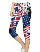 Elsefour Women's Popular Ultra Soft High Waist Printed Capri Cropped Leggings (XXL, USA Flag) – Women's Capris Best Price