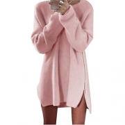 iGENJUN Women's Long Sleeve Scoop Neck Button Side Sweater Tunic Dress,L,Burgundy