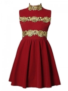 Fashion Crochet Embellished Cocktail Corduroy Pleated Dresses For Women