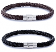 FIBO STEEL 10 Pcs Braided Leather Bracelets for Men Women Cuff Bracelet,Adjustable
