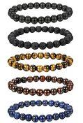 FIBO STEEL 5 Pcs 8MM Natural Healing Stone Bracelets for Men Women...
