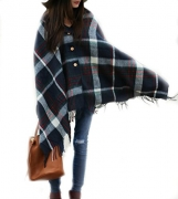 FLASH SALE – Pretty Simple Plaid Button Blanket Scarf Shawl Women's Wrap (Navy Blue)
